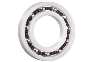 xiros® radial deep groove ball bearing, thin ring bearings, xirodur B180, stainless steel balls, cage made of PA, mm