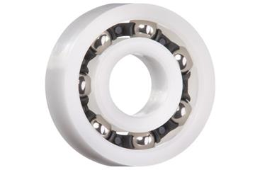 xiros® radial deep groove ball bearing, xirodur B180, stainless steel balls, cage made of PA, mm
